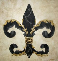 Flower Of New Orleans Black And Gold Painting