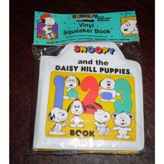 RARE! Peanuts BABY SNOOPY & DAISY HILL PUPPIES 1, 2, 3 Vinyl Squeaker Book - Features BABY OLAF, BABY MARBLES, BABY SPIKE, BABY ANDY, BABY BELLE, and BABY SNOOPY! RARE VINYL BOOK. Bright Non-Toxic Colors. Educational. Washable. Safe for Teething.  #SnoopyVinylSqueakerBook #Toy