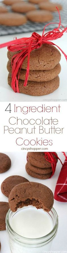 4 Ingredient Chocolate Peanut Butter Cookie - Super simple cookie for the holidays that only requires 4 ingredients