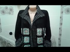 Кардиган из квадратных мотивов. Часть 6. Планка, воротник. Knitting women's cardigan. - YouTube