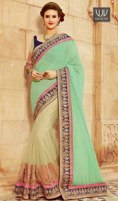 Buy Now @http://goo.gl/11Kk79  Distinguishable Cream And Sea Green Half N Half Designer Saree  Pamper the women in you with this appealing orange and sea green georgette half n half designer saree. The ethnic patch border, resham and zari work in the attire adds a sign of attractiveness statement for the look.  Product No  VJV-SIVA2210  @ www.vjvfashions.com  #saree #sarees #indianwear #indianwedding #fashion #fashions #trends #cultures #india #instagood #weddingwear #designer #ethnics