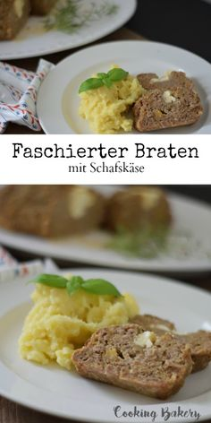 Faschierte Laibchen Greek Style - mit Schafskäse - COOKING BAKERY Baked Potato, Mashed Potatoes, Food And Drink, Beef, Baking, Ethnic Recipes, Cooking Recipes, Food And Drinks, Food Food