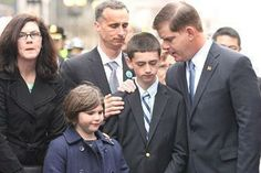 Family of the 8 year old Martin Richard who was killed in the Marathon bombing on 4-15-2013. This ceremony took place one year later.