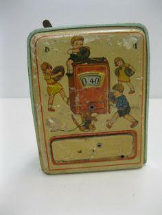 Oude, blikken spaarpot | Verkocht Speelgoed | markantspul