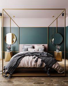 10 Bedroom Trends for 2019 - Schlafzimmer Design 2018 - Bedroom Decor Bedroom Wall Paint Colors, Art Deco Bedroom, Home Decor Bedroom, Bedroom Ideas, Bedroom Designs, Fancy Bedroom, Bedroom Furniture, Teal Bedroom Walls, Dark Teal Bedroom