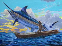 Old Man's Battle Off00133 - Painting by Carey Chen