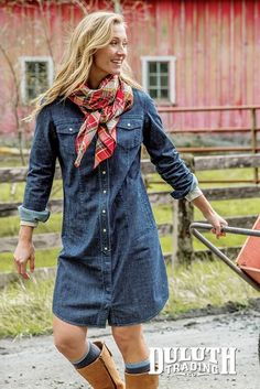 Take on your daily task list without worry in this soft, prewashed Denim Shirt Dress with hidden Bust-proof Buttons.