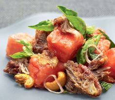 Red Ginger Recipe: Watermelon & Duck Confit Salad - Oceania Cruise Line Recipe