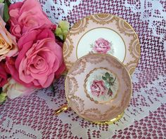Royal Standard and Clare Pink Rose Tea cup and Saucer Bone China England EUC #RoyalStandardClare