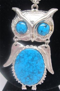 "Can't get enough #Owls for your collection? Retro OWL Vintage Articulated Silvertone 24"" #Necklace Pendant 24"" Faux Turquoise"