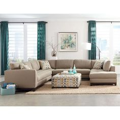 @brianhelvick  4PC243BOTNICALOP1 4-Piece Taupe Upholstered Sectional