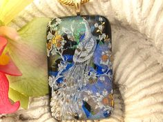 Large Bird  Peacock  Dichroic Fused Glass Jewelry  by ccvalenzo, $32.00