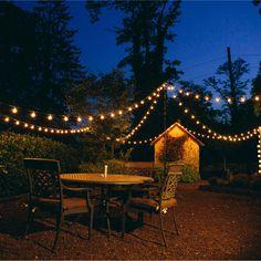 White String Lights, String Lights Outdoor, Lights For Patio, Light String, Backyard Lighting, Outdoor Lighting, Wedding Lighting, Rustic Lighting, Lighting Ideas