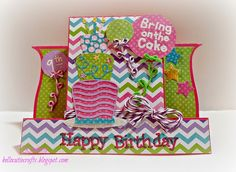 """Happy Birthday center fold card featuring Strawberry Cupcake and Grape Fizz Trendy Twine, """"Bring on the Cake"""" by Craftin Desert Divas and Miss Kate Cuttables. September 2014"""