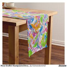 Neon Graffiti-Handpainted Brushstrokes Modern Art Short Table Runner