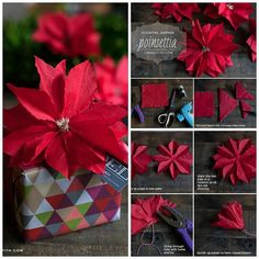 Cocktail Napkin Poinsettia Craft | DIY Cozy Home