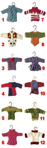 Twelve miniature sweater ornaments tutorial