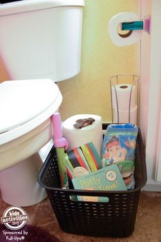 Prepare your bathroom for potty training with this basket essentials idea from Kids Activities Blog.