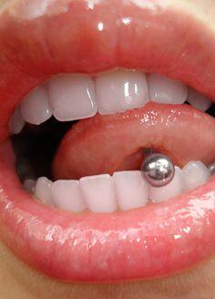 Beautiful lips, tongue piercing