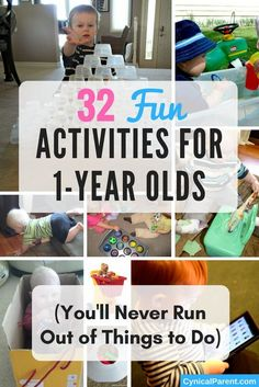 32 fun activities for 1 year olds youll never run out of things to do 5 indoor activities for one year olds perfect for long winter days Sensory Activities, Infant Activities, 1year Old Activities, Sensory Play, Toddler Activities For Daycare, Baby Learning Activities, Teaching Babies, Activities For One Year Olds, Activities To Do With Toddlers