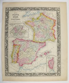 Antique Map Spain Vintage Map of France Portugal Map Old 1860 Original Mitchell Unique Gift Under 100 Gift for Home Wedding Gift Anniversary by OldMapsandPrints on Etsy