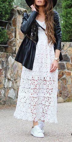 White Spaghetti Strap Crochet Lace Midi Dress