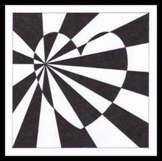Op Art Lessons, Art Lessons Elementary, Zentangle Drawings, Art Drawings, Valentines Art, Illusion Art, Hippie Art, High Art, Art Classroom