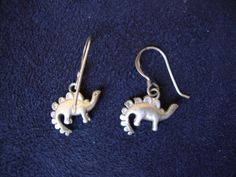 Vintage Sterling Silver Small Figural Stegosaurus Dinosaur Dangle Hook Earrings | eBay