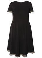 Womens DP Curve Plus Size Black Lace Trim Dress- Black