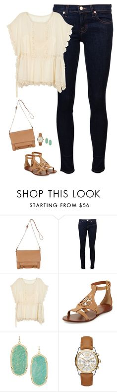 """""""Lace chiffon top, sea green earrings and Tory burch sandals"""" by steffiestaffie ❤ liked on Polyvore featuring John Lewis, J Brand, RED Valentino, Tory Burch, Kendra Scott and Michael Kors"""