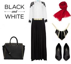 awesome Black and White Hijab Look