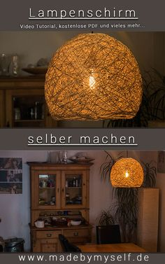DIY Lampenschirm selber machen – wunderschöne Fadenlampe nicht nur einfach, son… Make DIY lampshade yourself – beautiful thread lamp not only easy, but also cheap and quick to make yourself with this step by step guide www.