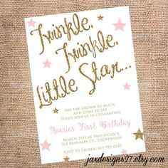 Kids Birthday Party invitations - Twinkle Twinkle Little Star - Birthday Invitations for Kids - Glitter Kids Birthday Invitations