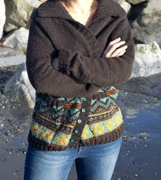 Granddaddy - grandpa sweater/cardigan. Warm and woolly, pockets, and shawl collar, with fair isle colorwork to knit as well! Pattern available for $6 through kraftling.ca