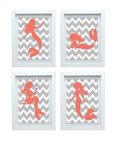 Mermaid Nursery Decor Print Girl Room Decor Baby Bathroom Art Coral Gray Wall Art Print Set of 4 - 8x10 Kids Room Decor, Choose Your Color