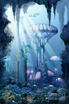 Ciro Marchetti Digital Art - Coral City by Ciro Marchetti (fantasy landscaping) Fantasy City, Fantasy Places, Fantasy Kunst, Fantasy World, City Poster, Underwater City, Underwater Drawing, Fantasy Setting, Fantasy Artwork