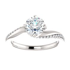 Satisfyingly Simple Round Brilliant Moissanite - 14kt White 6.5mm Round Engagement Ring