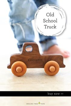 Our old-school truck is classic and timeless; a must-have for any little  one's wooden toy collection. This heirloom gift is deal for any age, be  it baby's first toy car, a special gift for a toddler's birthday, or a handmade addition to a preschooler's fleet. Simple, safe for all, and drives like a charm. Personalize it for added sentiment! #toddlergifts #woodentoys Childrens Gifts, Toddler Gifts, Toddler Toys, Kids Toys, New Baby Gifts, Gifts For Kids, Natural Parenting, Parenting Tips, Wooden Baby Toys
