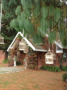 Hanging birdcages outside the chapel