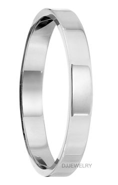 Jewel Tie 14k White Gold 5mm Flat with Step Edge Wedding Band