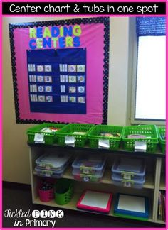 "Keep everything in one spot so students know where to go when it's ""reading centers"" or ""math centers""."