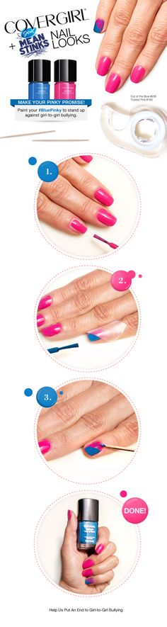Paint your pinky blue to support Secret Mean Stinks. Try this #BluePinky nail art look using COVERGIRL Outlast Stay Brilliant Nail Gloss in Out of the Blue #295 and Tickled Pink #165.