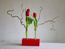 Blumenvase aus Holz,Vase mit Reagenzglas in rot