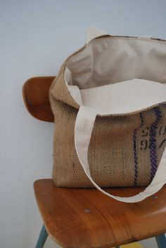 Handmade tote from burlap coffee bean bag! Reversible Lined with new cotton bag is x 15 x deep strap is approx. Burlap Coffee Bags, Coffee Bean Bags, Coffee Sacks, Coffee Beans, Feed Bags, Cotton Bag, Coffee Shop, Repurposed, Crafting