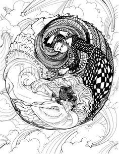 line drawings of yin yang | Herron Coloring Book Yin Yang Exiledchaos Deviantart