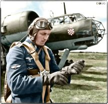A Croatian Oberfeldwebel pilot of the 10.(Kroat) KG3 bomber-group standing by his Dornier Do-17Z on the Eastern Front. c. October 1941