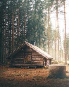 Far away in the forest away from noise pollution tag with whom you'd live here . Small Log Cabin, Tiny Cabins, Tiny House Cabin, Log Cabin Homes, Cabins And Cottages, Cozy Cabin, Cottage In The Woods, Cabins In The Woods, House In The Woods