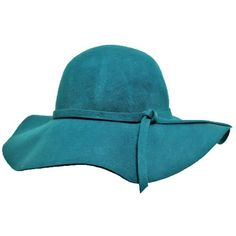 Teal Blue Glamorous Wide Brim Wool Felt Floppy Hat (535 EGP) ❤ liked on Polyvore featuring accessories, hats, wool felt hat, wide brim hat, floppy hat, wool hat and wide brim wool hat