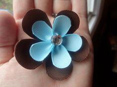 Blue & Brown Flower Hair Clip. $3.49, via Etsy.