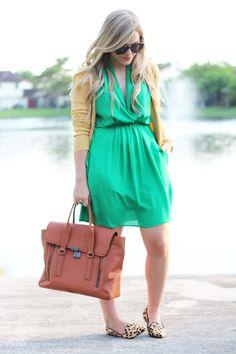 Bright green dress, yellow cardigan, leopard flats, big satchel bag, gold accessories #style